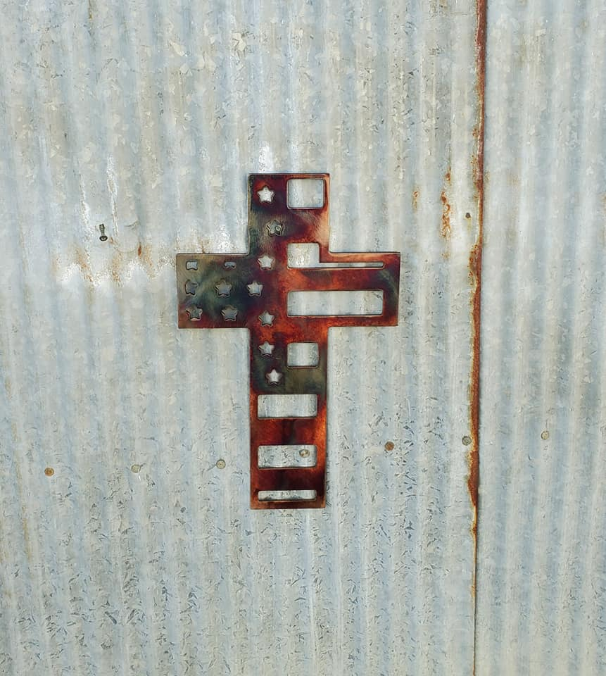 Cross with American Flag Design