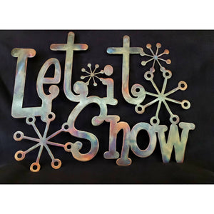 Let It Snow Metal Sign with Snowflakes - LAG Metal Worx