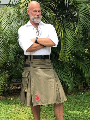 Kilted Cock Adjustable Geronimo Kilt for Men (Army Green)