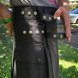 Kilted Cock Adjustable Geronimo Kilt for Men (Black)