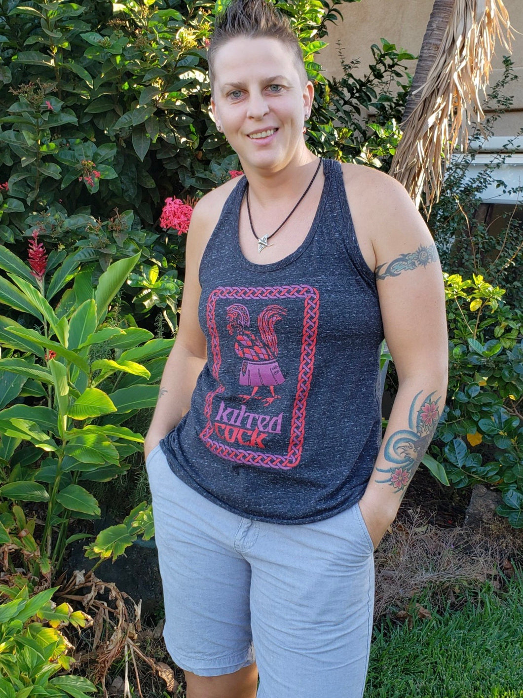 Kilted Cock Tank Top for Women (Twist-Back, Heather Grey)