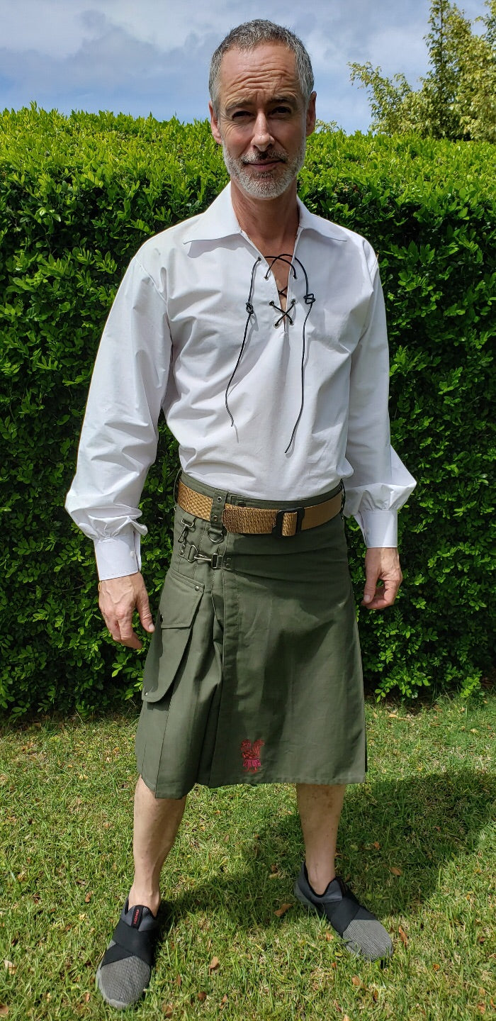 Kilted Cock Geronimo Kilt for Men (Army Green)