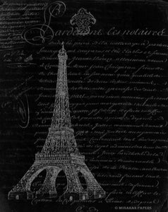 Monahan Decoupage Papers- Script Eiffel Tower Black & White Paper Sheet 11x17