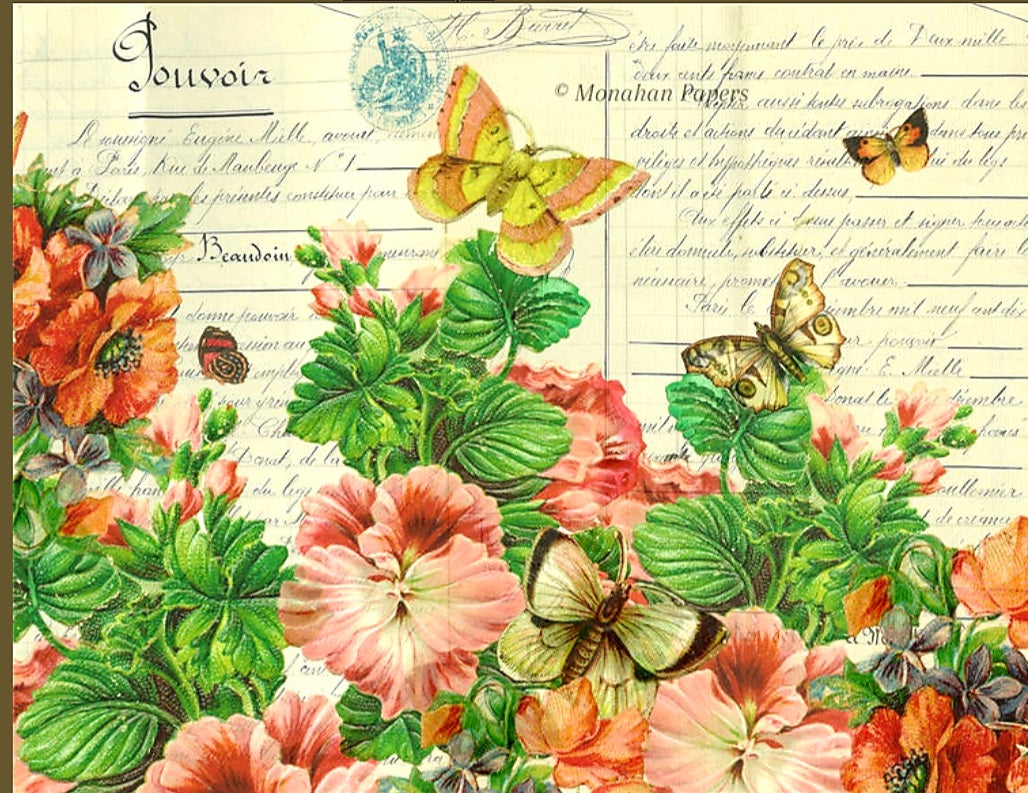 Monahan Decoupage Papers- Botanical Hibiscus 11x17