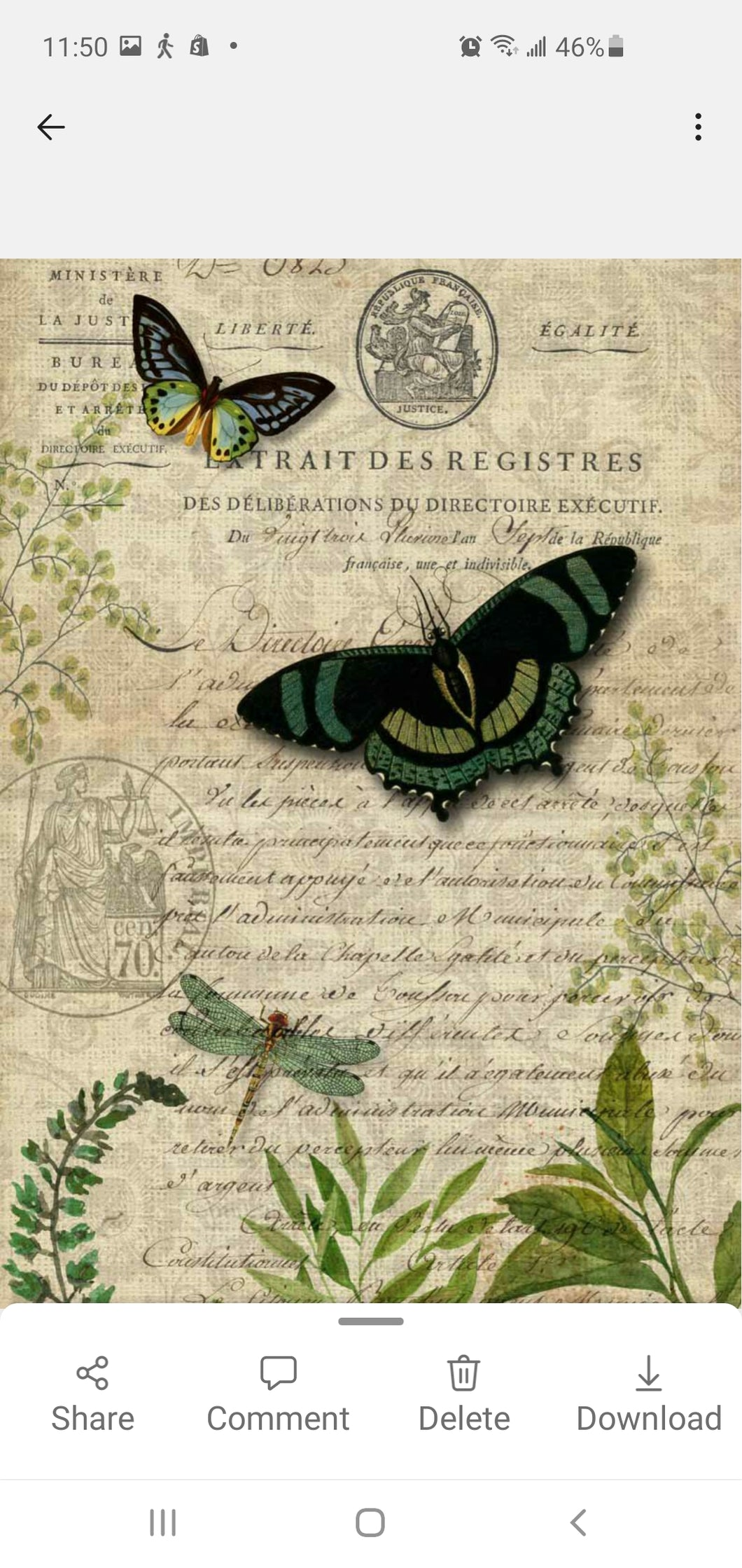 DECOUPAGE QUEEN PAPER BUTTERFLY BOTANICAL  11 1/2 x 8