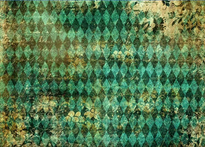 DECOUPAGE QUEEN RICE PAPER- TEAL HARLEQUIN 8.3 X 11.7