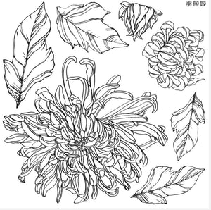 CHRYSANTHEMUMS 12X12 IRON ORCHID DECOR STAMP- 2 SHEETS PREORDER