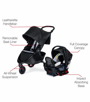 Britax B-Free + Endeavours Travel System Clean Comfort Fabric - Indy - Brand New!!