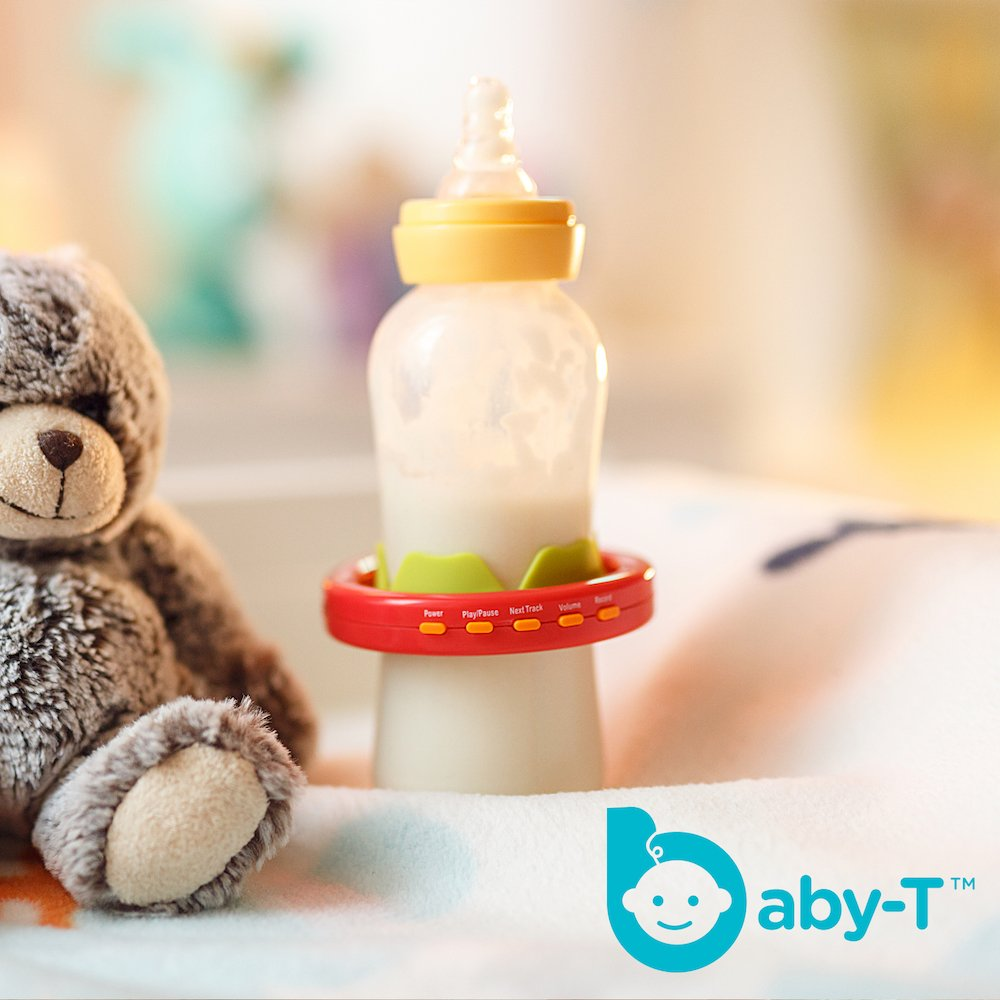 Baby-T is Baby's 1st MP3, Multi-use Bracelet, Teether, Music Player, Voice Recorder and Baby Bottle Holder, safe for all ages 0-48 months,