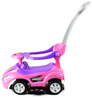 Deluxe Mega 3 in 1 Car Children's Toy Stroller & Walker Pink w/ Working Horn