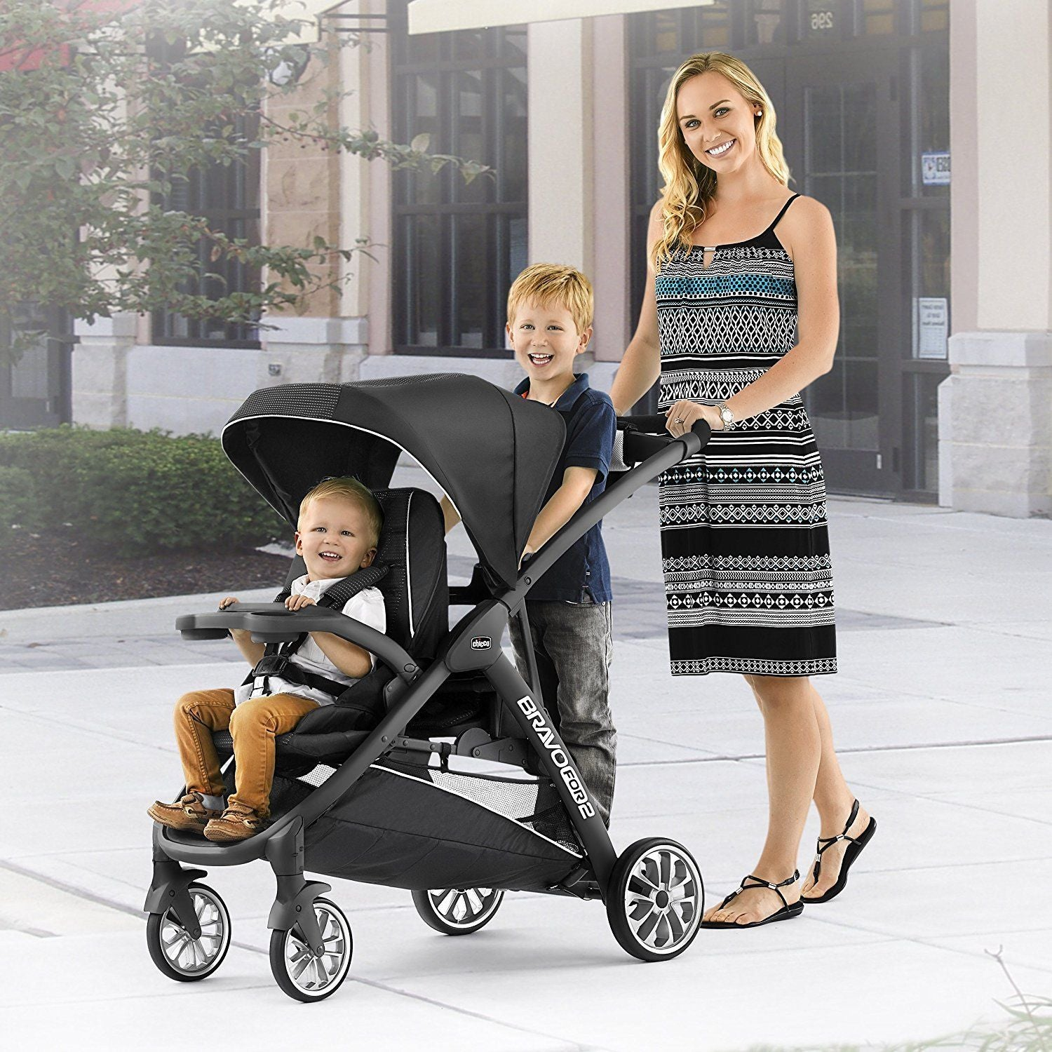 Chicco Bravo For 2 LE Two Passenger Stroller Eucalyptus