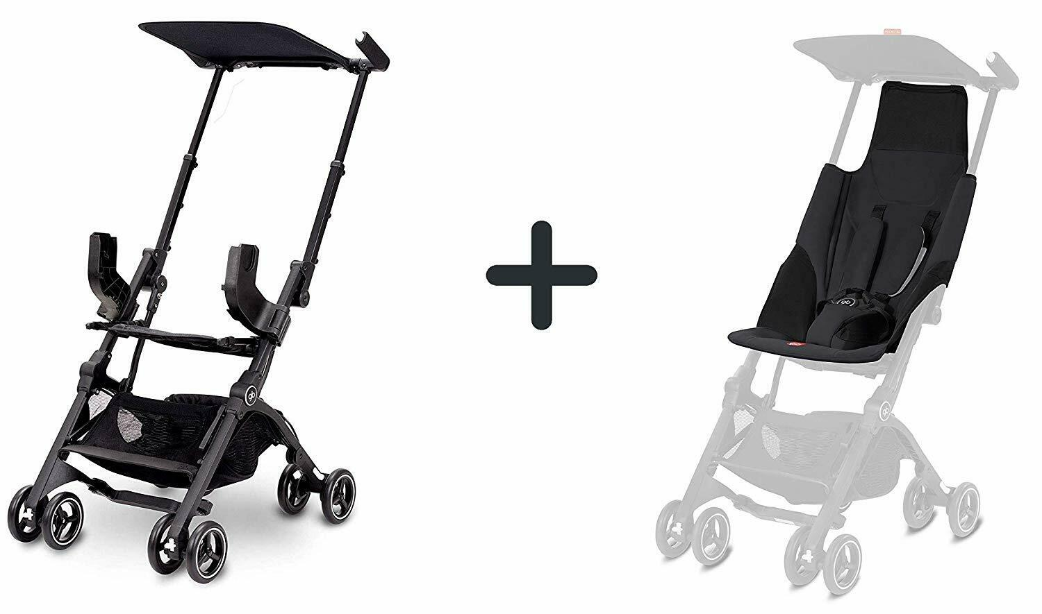 Pockit Go Plus Stroller Bundle w/ Reclining Seat Fabric + Infant Carrier Laguna