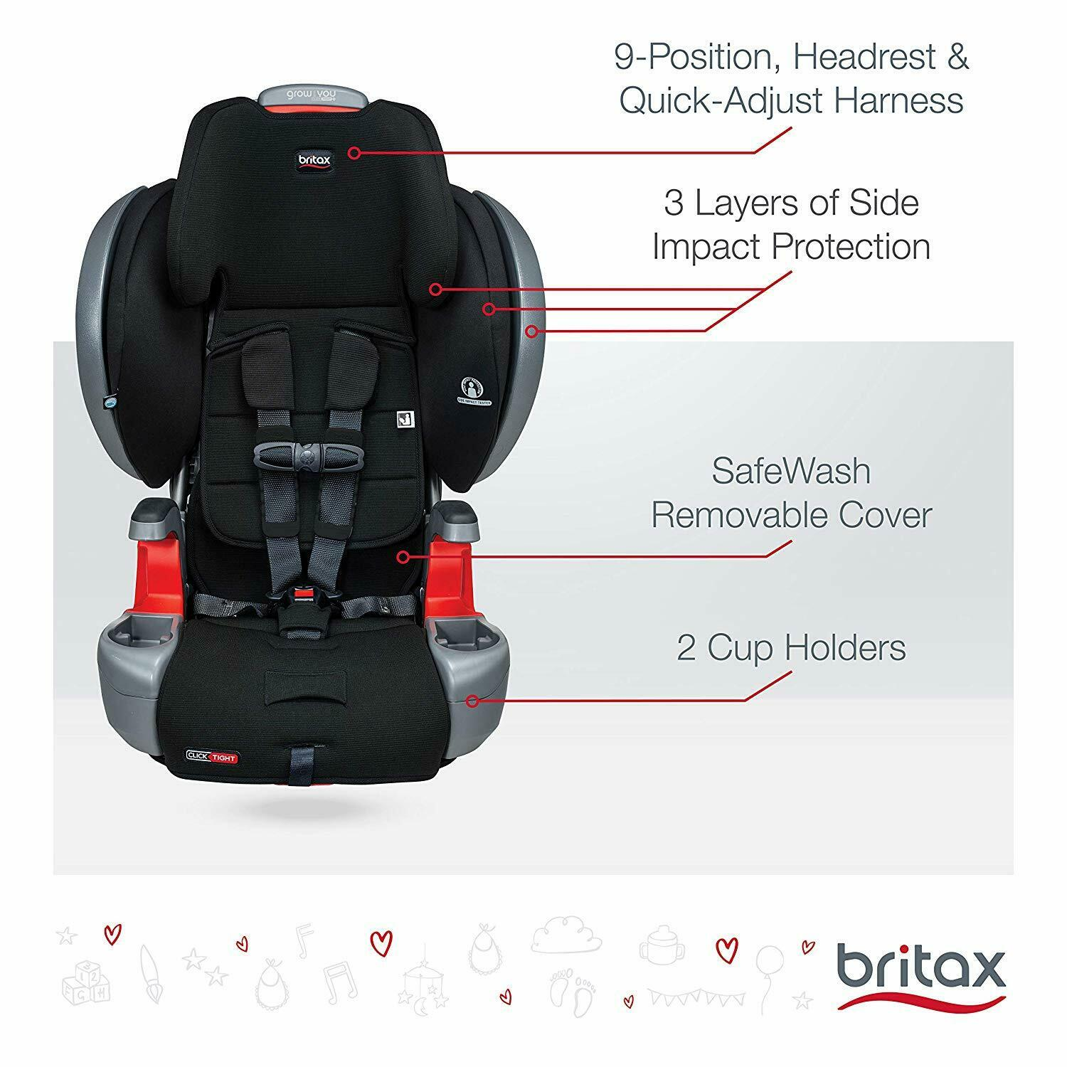 Britax Grow With You Plus ClickTight Booster Car Seat - Cool Flow Grey
