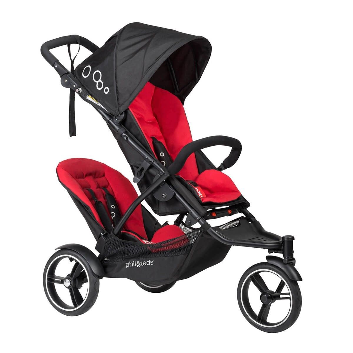 Phil & Teds 2018 Dot V3 Stroller & Double Kit Black/Red