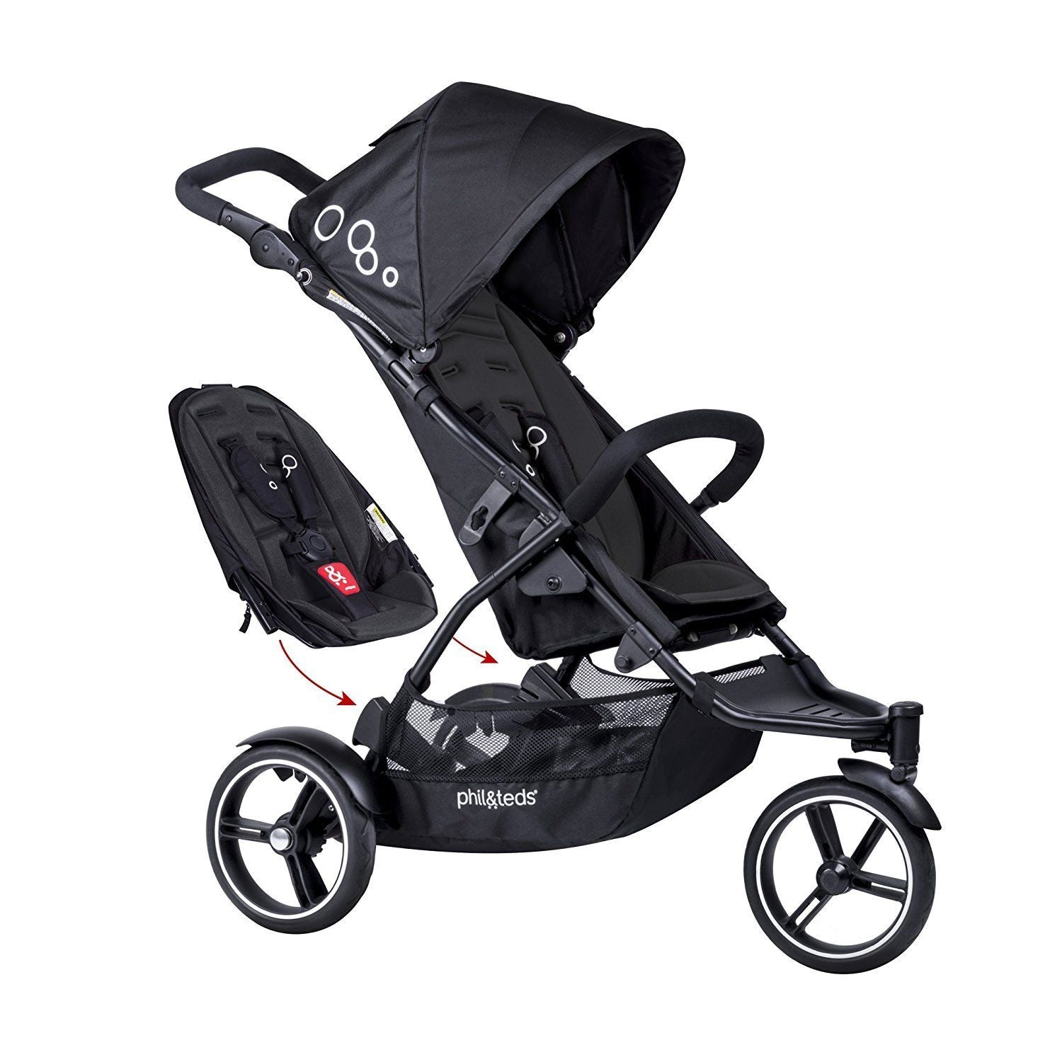 Phil & Teds 2018 Dot V3 Stroller & Double Kit, All Black