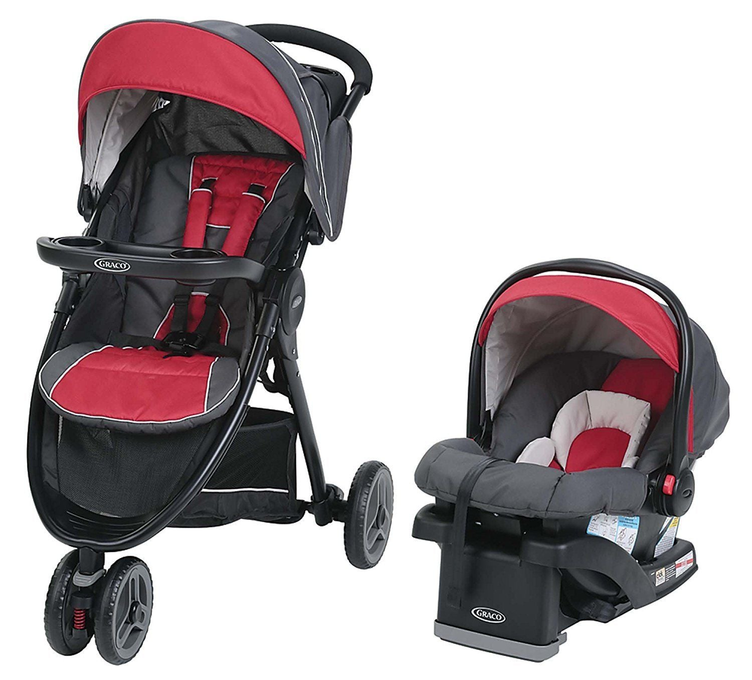 Graco FastAction Sport LX Travel System - Chili Red