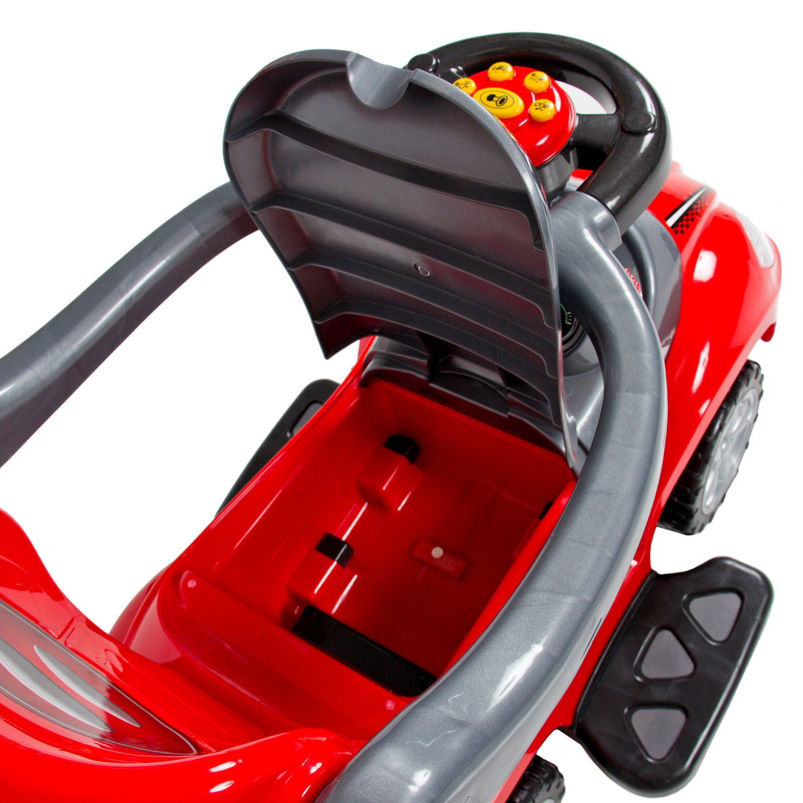 Deluxe Mega 3 in 1 Car Children's Toy Stroller & Walker Red w/ Working Horn