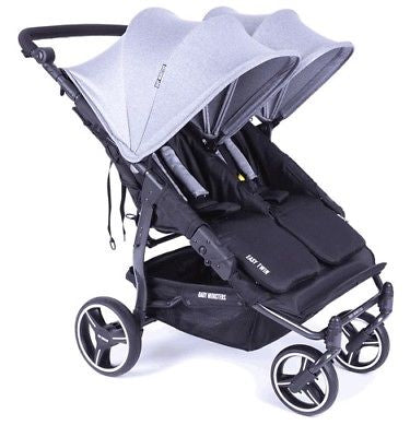 Baby Monsters Easy Twin 3.0 Double Stroller in Heather Grey