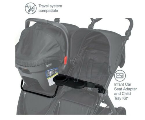 Britax B-Lively Double Car Seat Adapter (B-Safe) and Child Tray