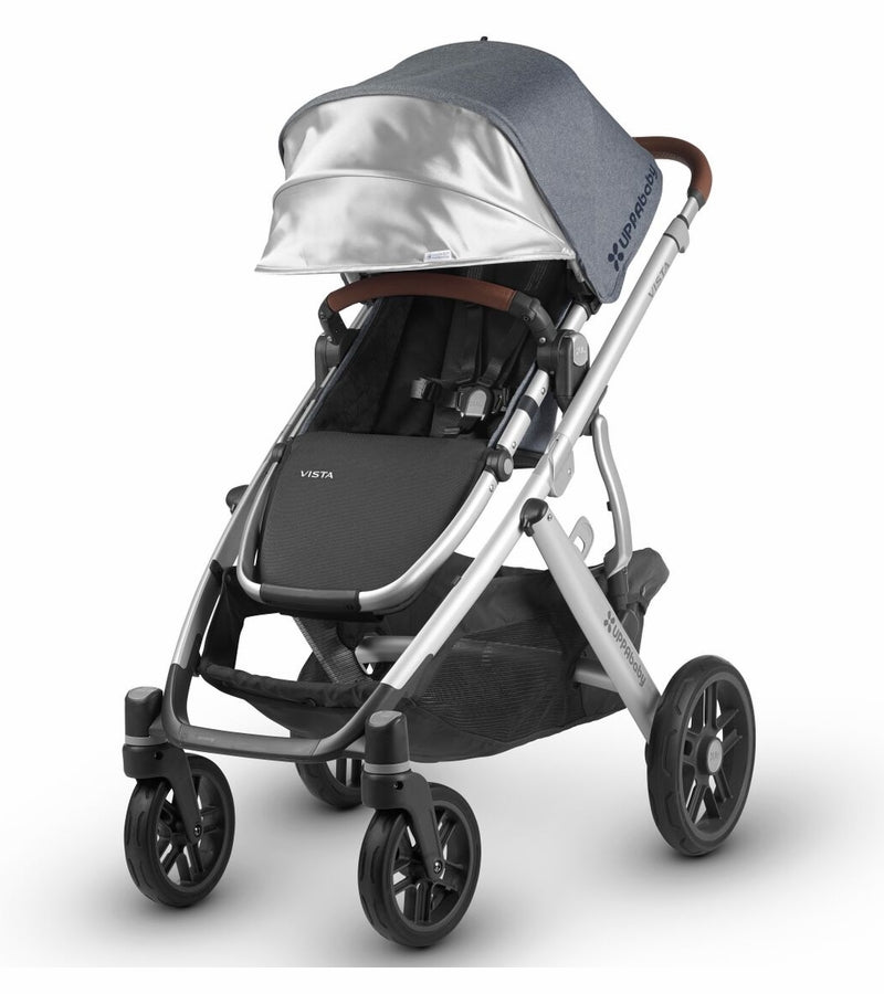UPPAbaby 2018 Vista Stroller - Gregory (Blue Melange/Silver/Saddle Leather)