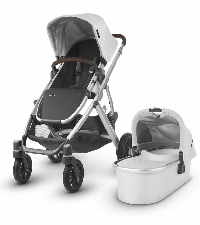 UPPAbaby 2019 VISTA Stroller - Bryce (White Marl/Silver/Chestnut Leather)