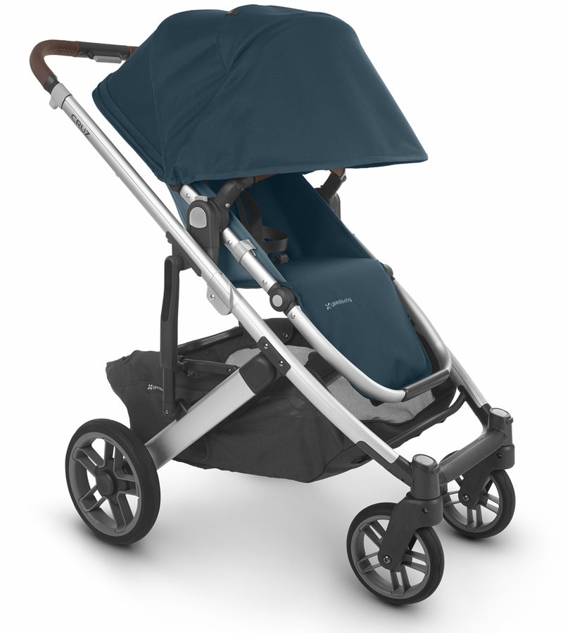 UPPAbaby 2020 Cruz V2 Stroller & Bassinet - Finn (Deep Sea/Silver/Chestnut Leather)