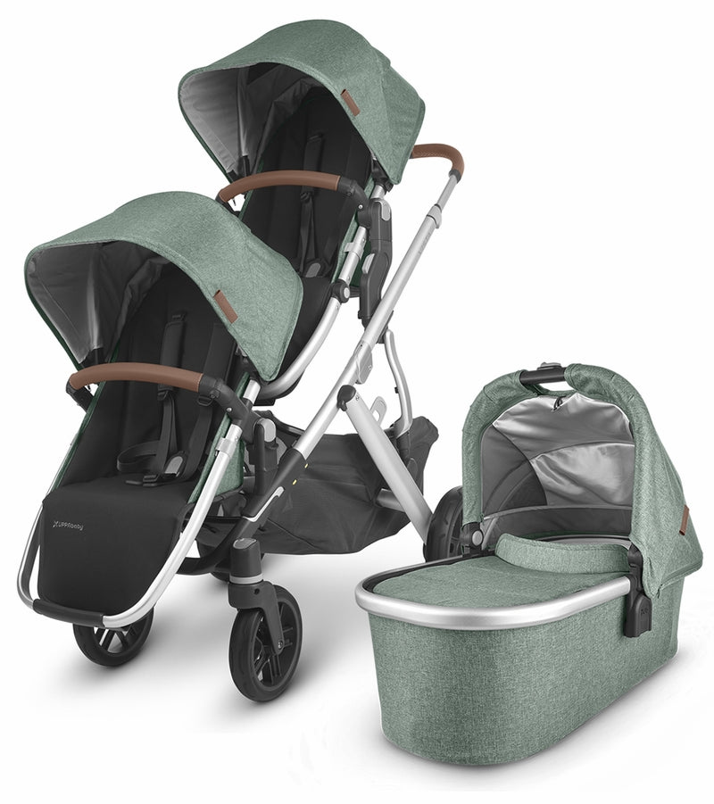 UPPAbaby 2020 Vista V2 Double Stroller - Emmett (Green Mélange/Silver/Saddle Leather)