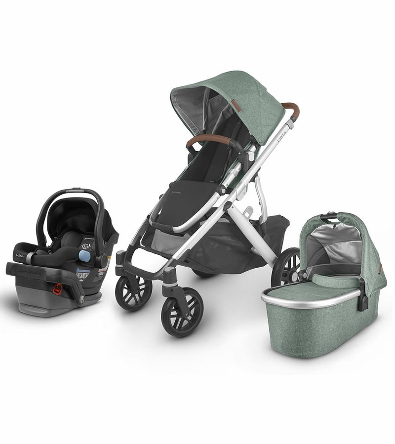 UPPAbaby 2020 Vista V2 + Mesa Travel System - Emmett (Green Mélange/Silver/Saddle Leather)