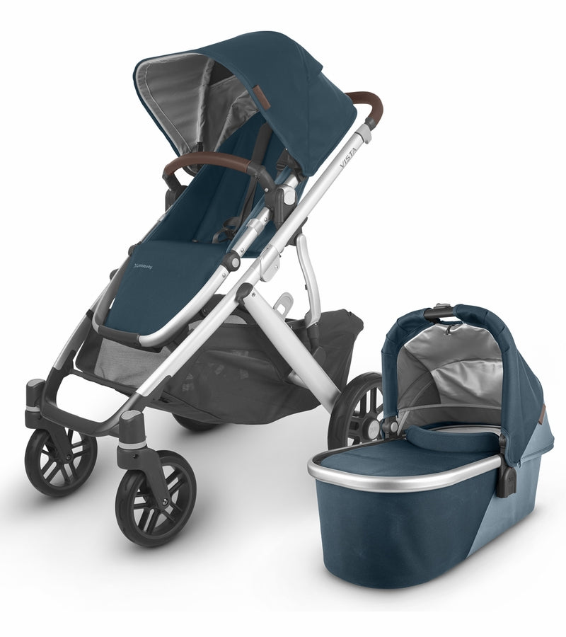 UPPAbaby 2020 Vista V2 Stroller - Finn (Deep Sea/Silver/Chestnut Leather)