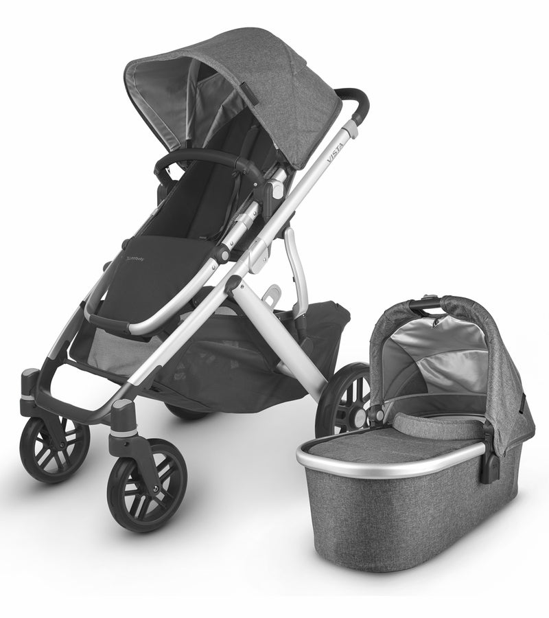 UPPAbaby 2020 Vista V2 Stroller - Jordan (Charcoal Mélange/Silver/Black Leather) (Open box)