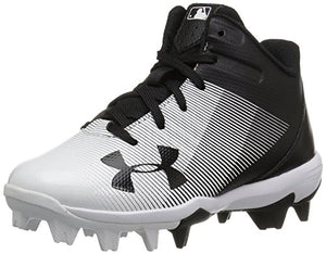 Under Armour Boys' Leadoff Mid Jr. RM Baseball Shoe Black (011)/White 12K