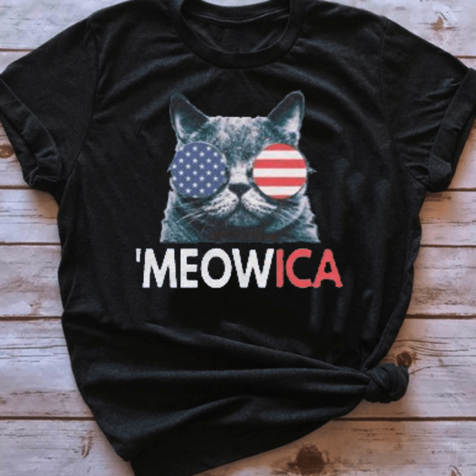 'MEOWICA Patriotic Cat Graphic Tee