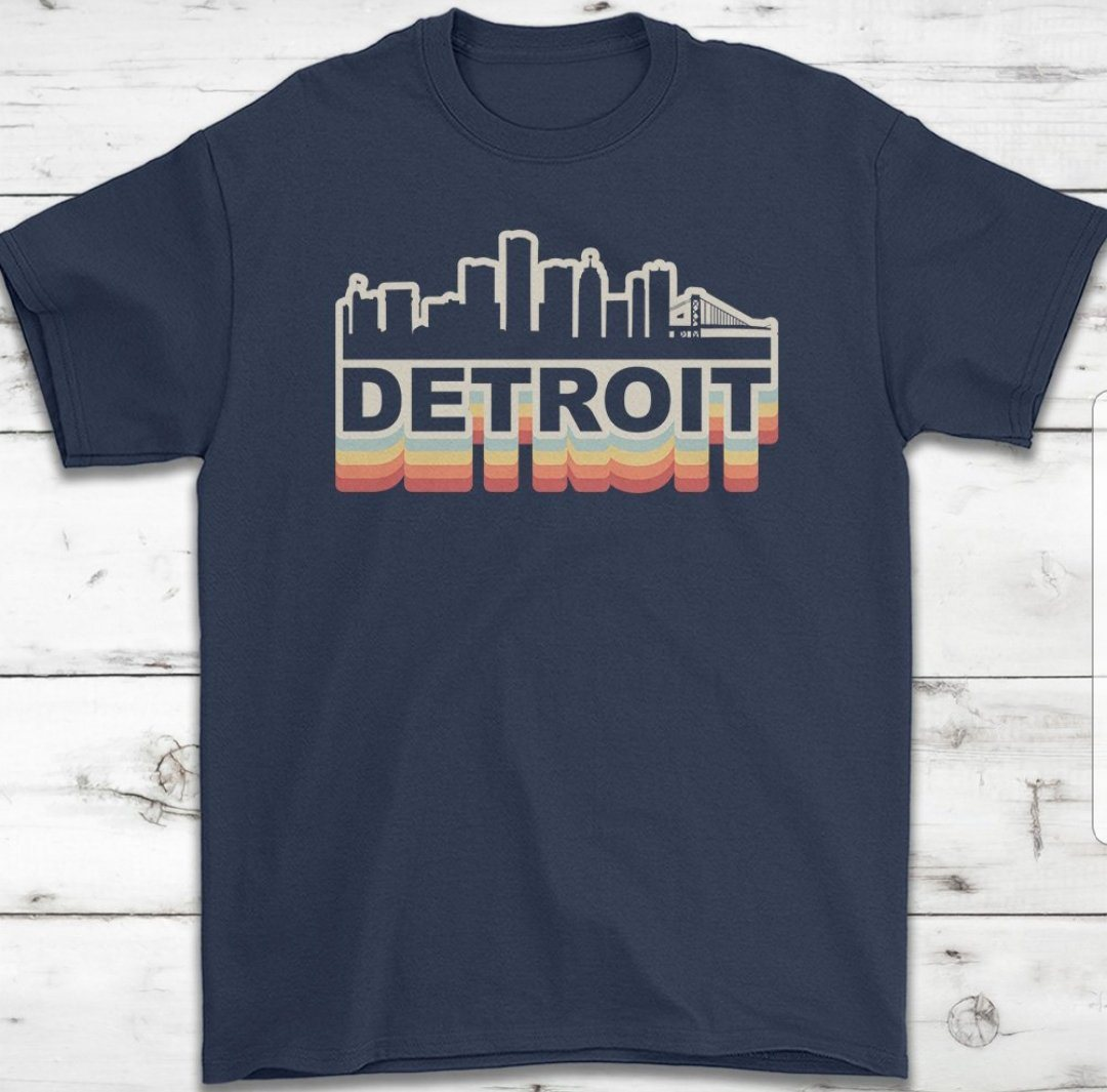 Detroit Skyline Retro