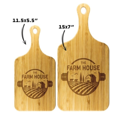UV Etched Wooden Cutting Board with Handle