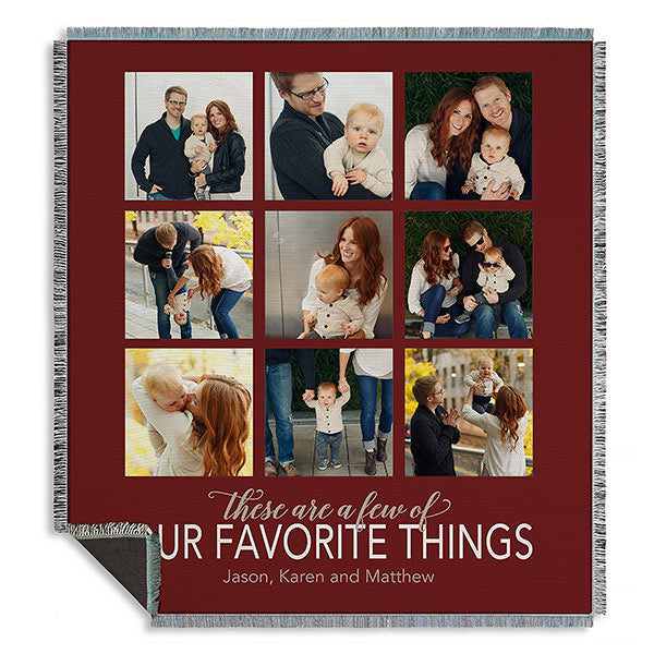 My Favorite Things Personalized Woven Photo Throw
