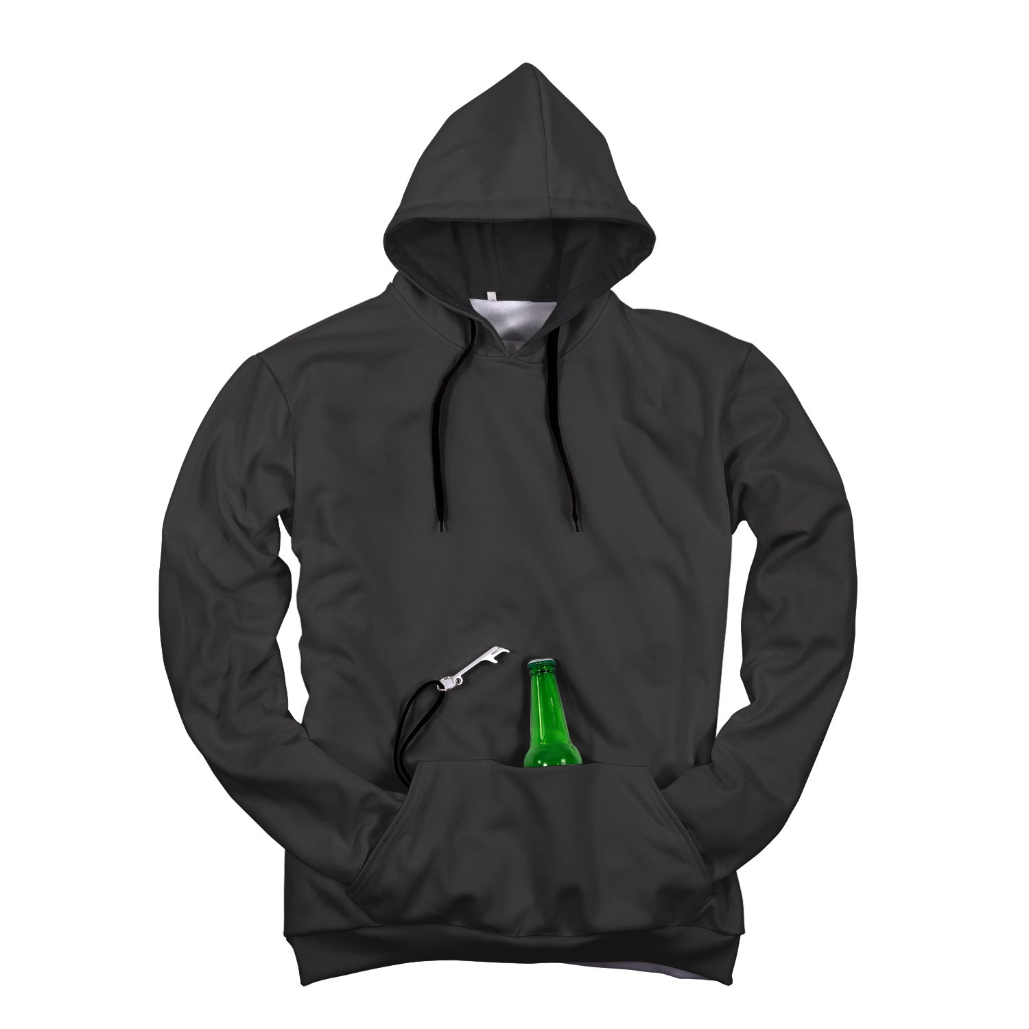 Pop-Top BEER Hoodie | Dark Gray Black Hood