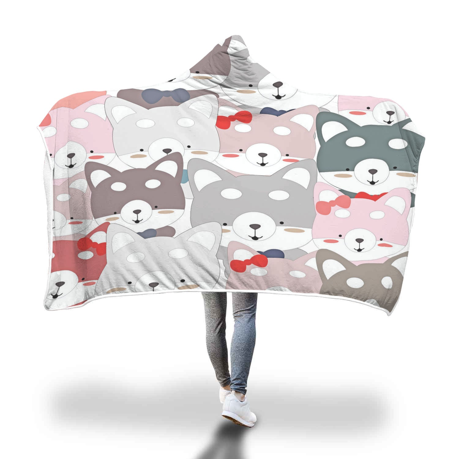 Stacked Cats Hooded Blanket