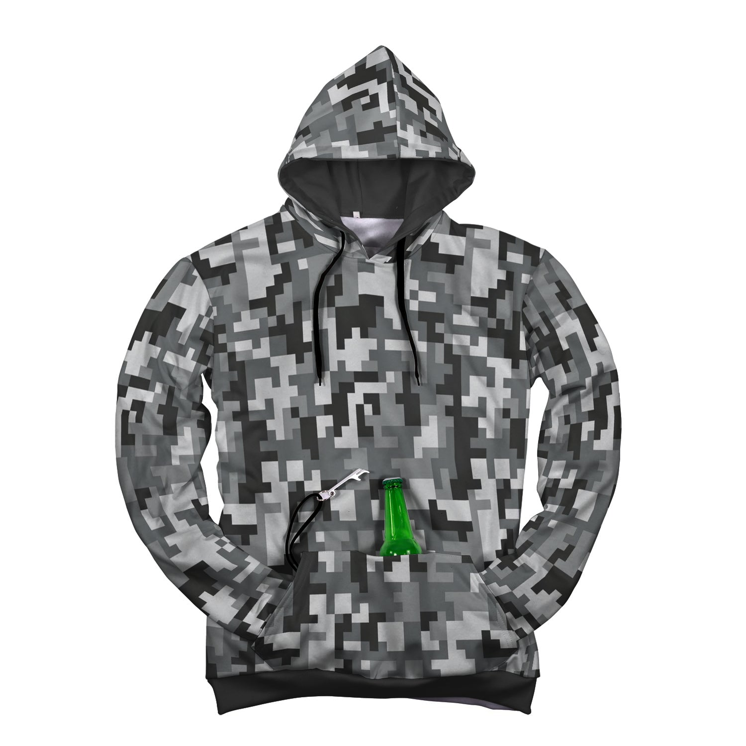 Gray Digital Pop-Top Beer Hoodie