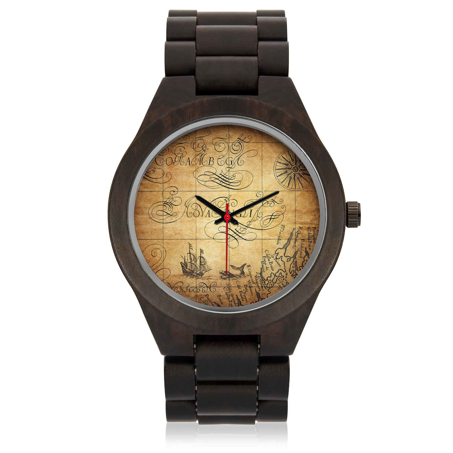 Custom Engraved Wood Watch | Aged Pirates Map Face