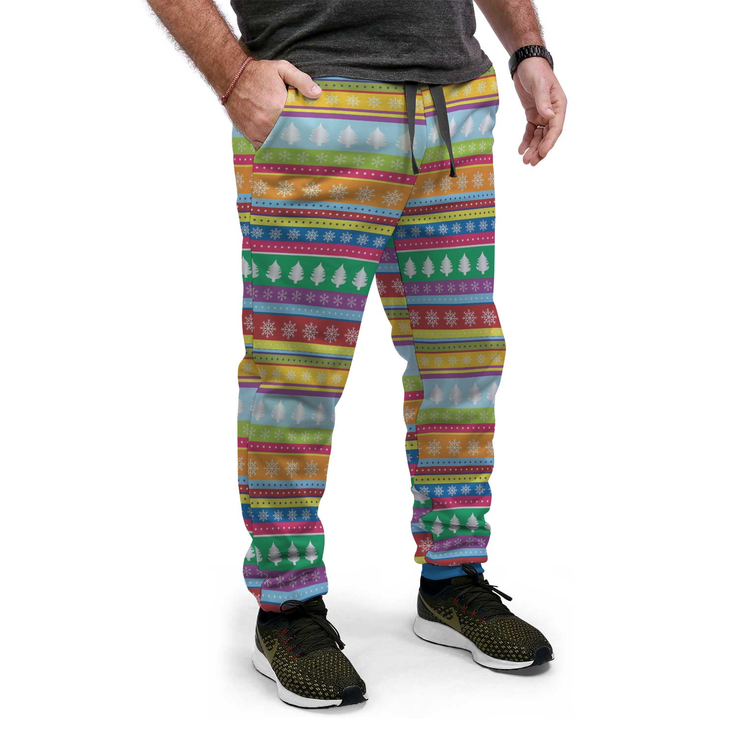 Colorful Holiday Pattern Ugly Christmas Sweat-PANTS
