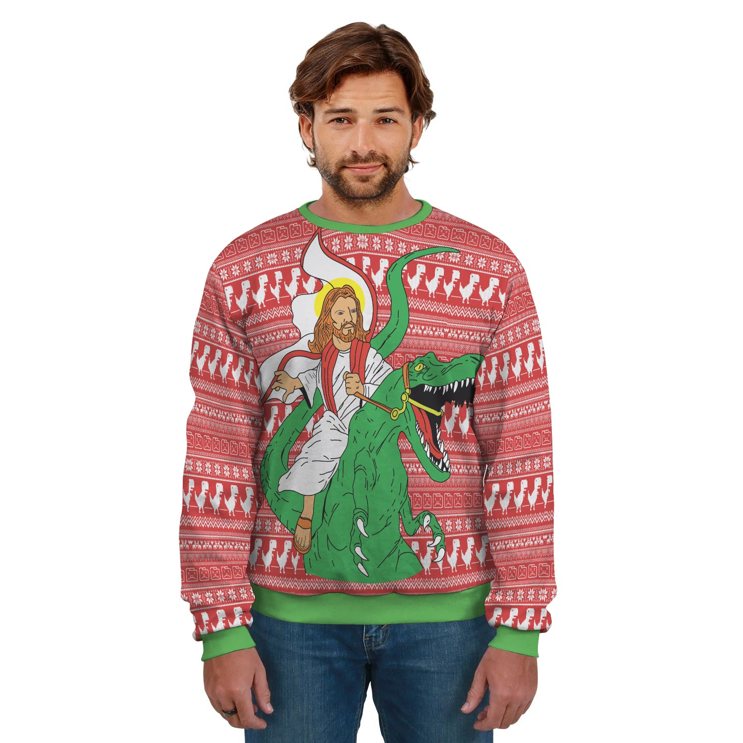 Jesus Riding T-Rex Ugly Sweater