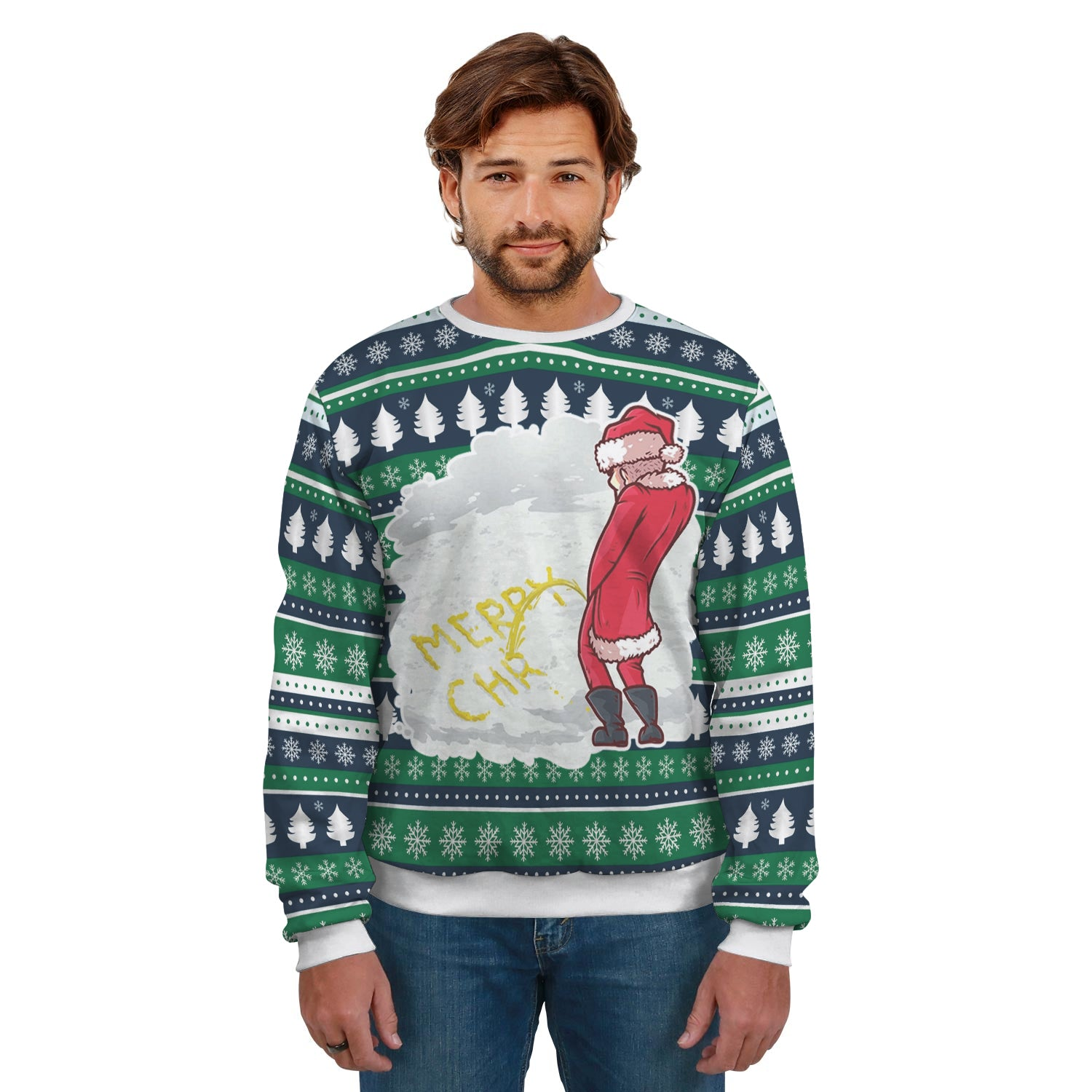 Ugly Christmas Sweater Santa Sending a Yellow Message
