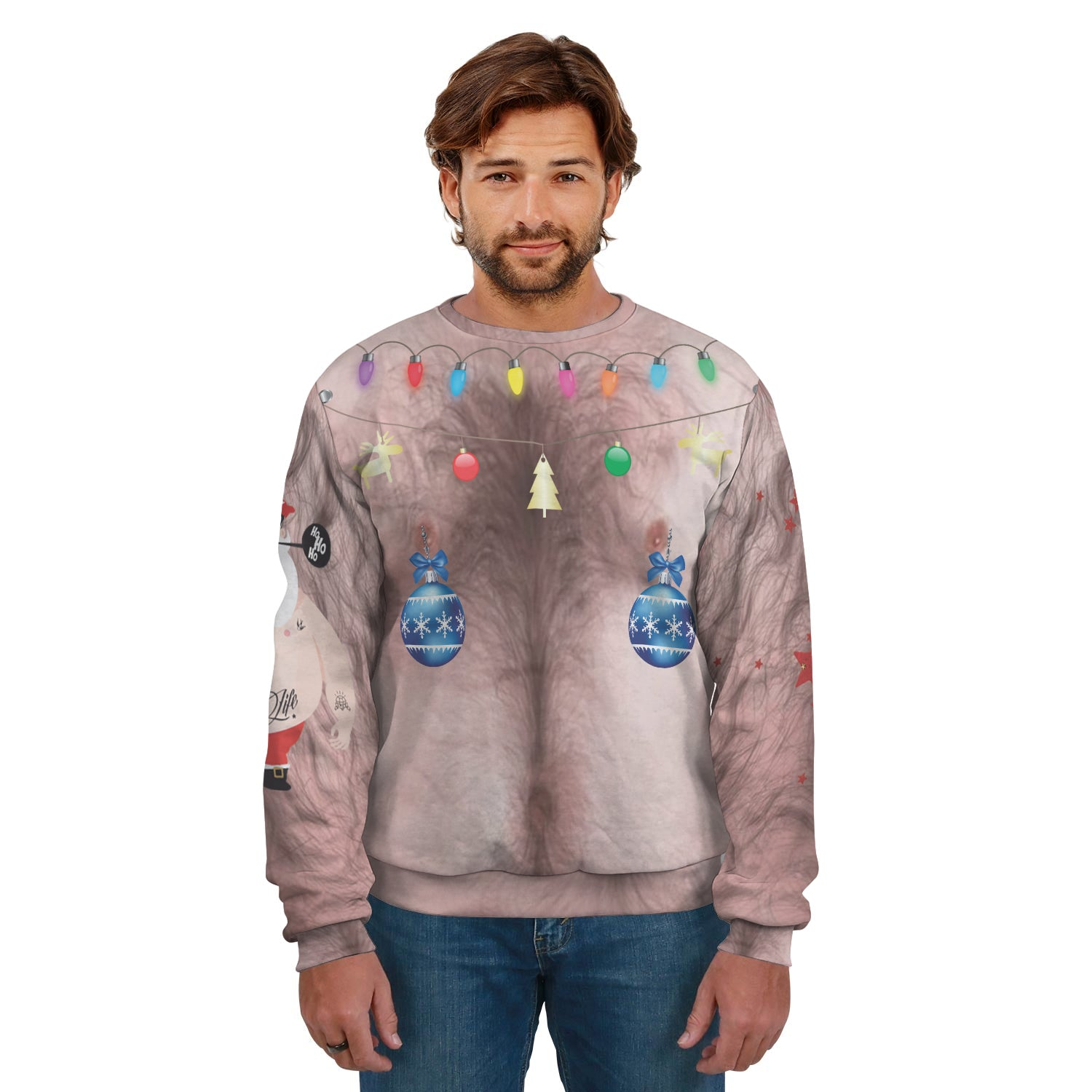 Festive Hairy Man Ugly Christmas Sweater