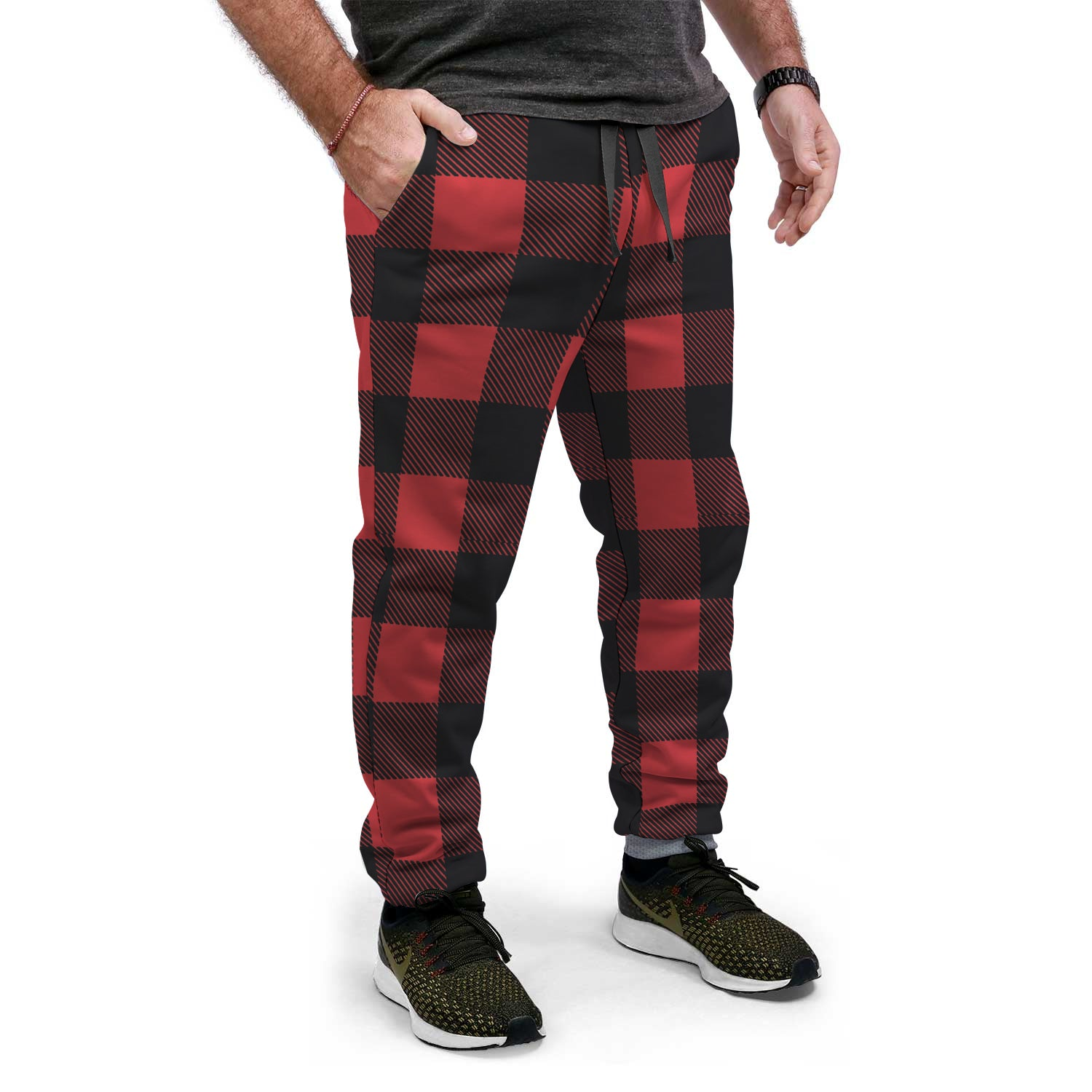 Red, Black, and Gray Plaid Christmas Sweat-Pants | Unisex