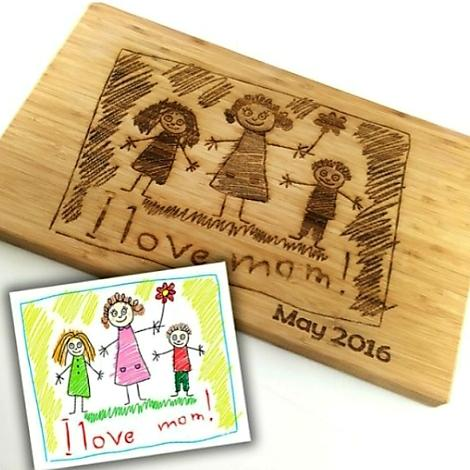UV Etched Wooden Cutting Board With or Without Handle 4 Sizes