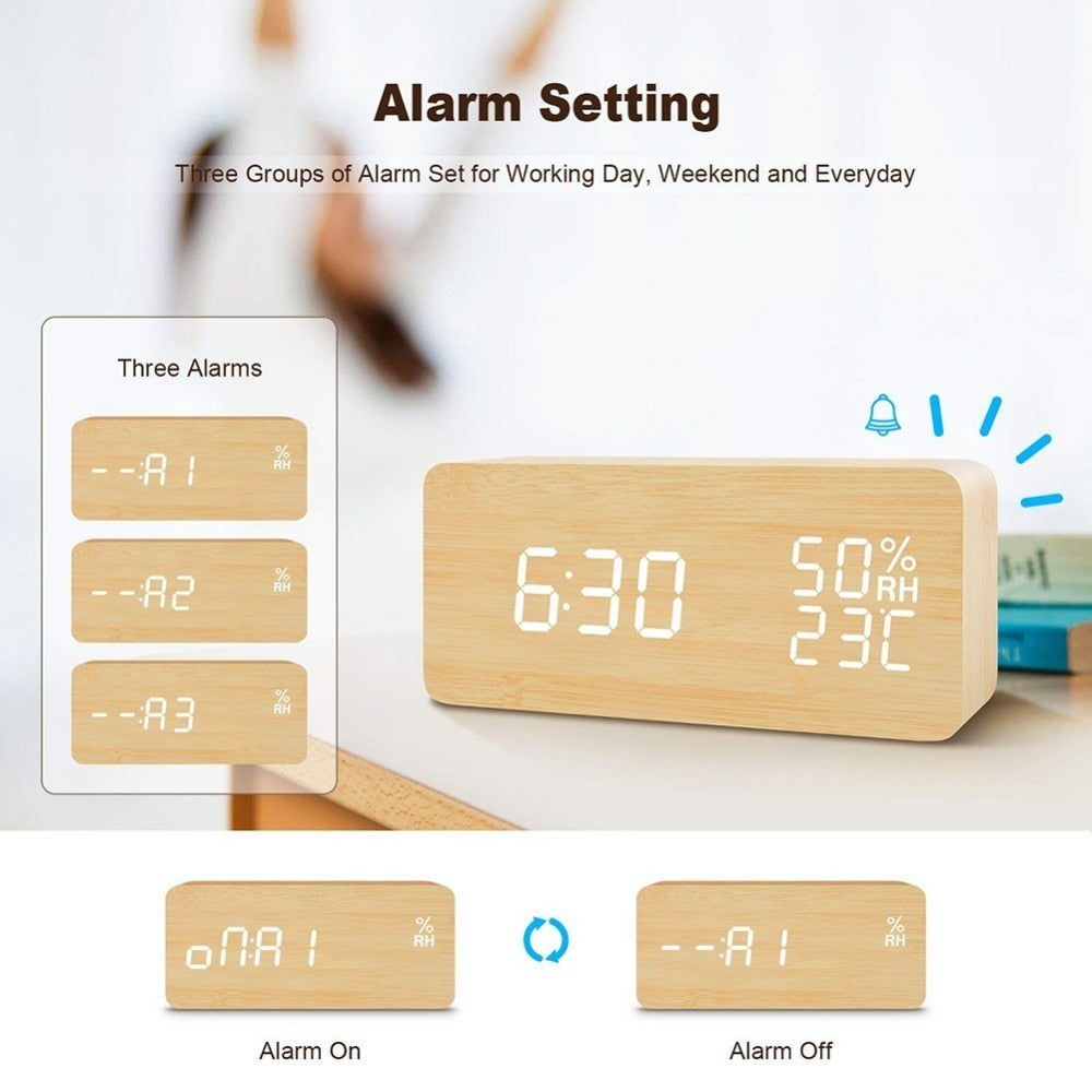 Bamboo & Wooden LED Alarm Clock