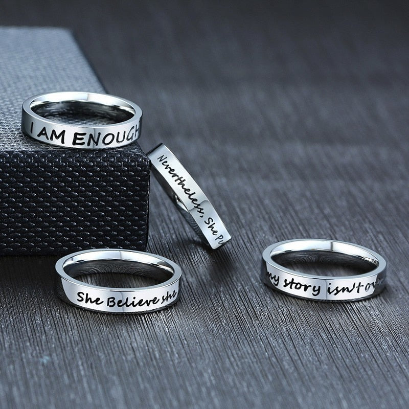 I am Enough/Positive Quote Ring