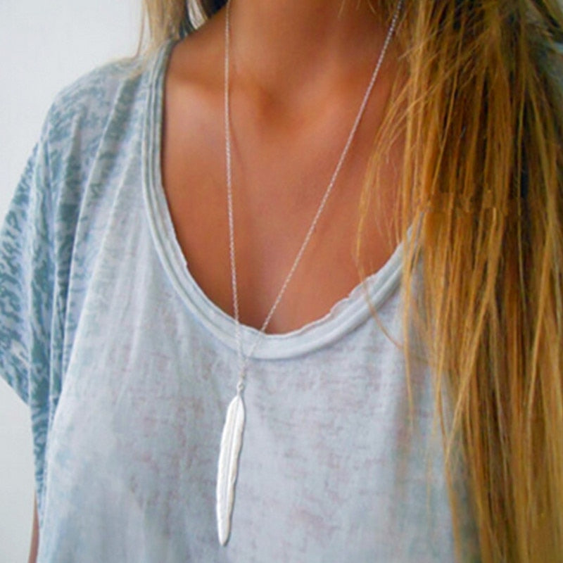 Bohemian Style Leaf Long Necklace