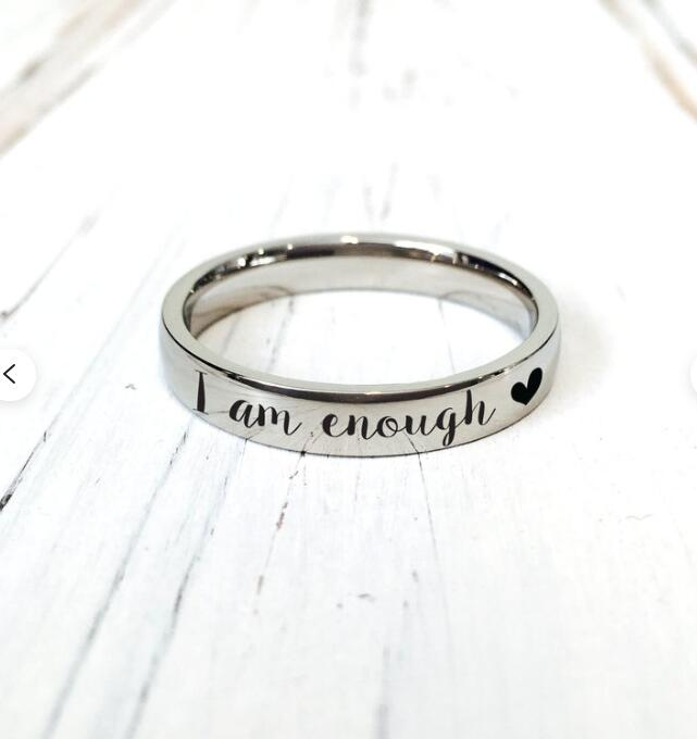 I Am Enough Stainless Steel Ring