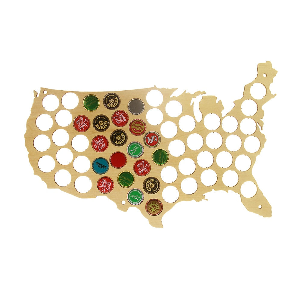 Patriotic Wooden Beer Cap Map